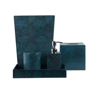 Rembrandt Home Teal Blue Genuine Leather 5-piece Bath Accessory Set