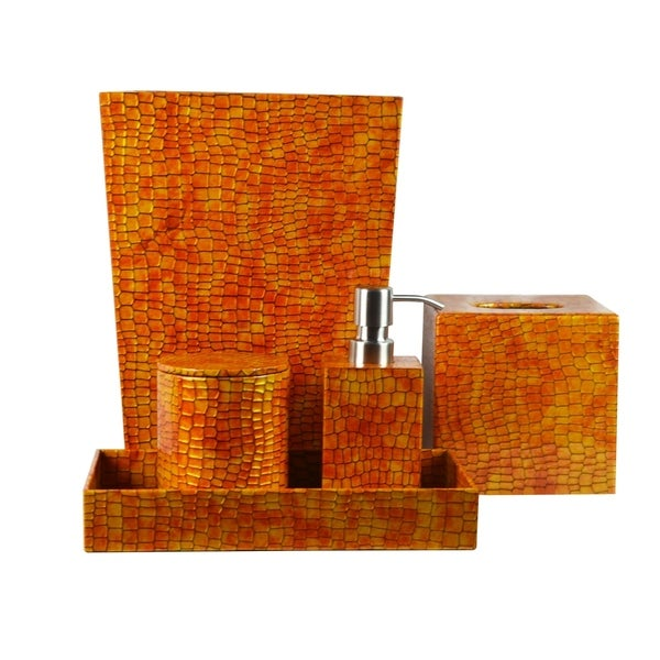 Genuine Leather 5-Piece Bath Set, Honey Comb, Shower and Bathroom Accessory
