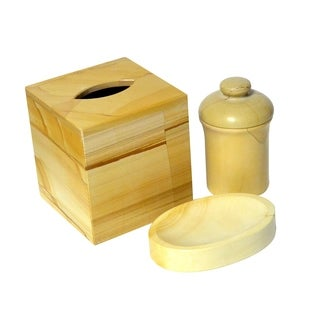 Polished Marble 3-Piece Bath Set, Teak, Shower and Bathroom Accessory