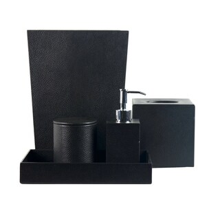 Rembrandt Home Black Genuine Leather 5-piece Bath Accessory Set
