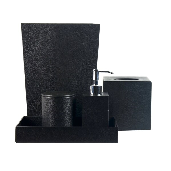 shop genuine leather 5-piece bath set, black, shower and