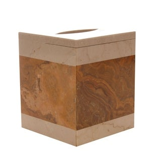 Polished Marble Tissue Box Cover, Desert Sand and Amber, Shower and Bathroom Accessory