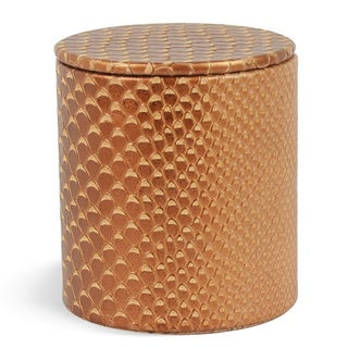 Genuine Leather Round Jar With Lid / Storage Canister, Golden Brown, Shower and Bathroom Accessory