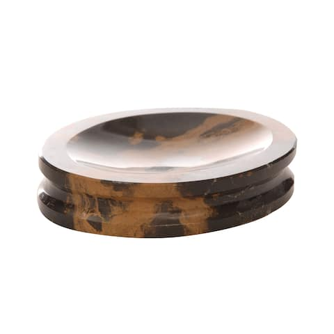 Polished Marble Soap Dish, Black & Brown, Shower and Bathroom Accessory