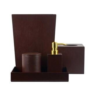 Genuine Leather 5-Piece Bath Set, Chestnut, Shower and Bathroom Accessory
