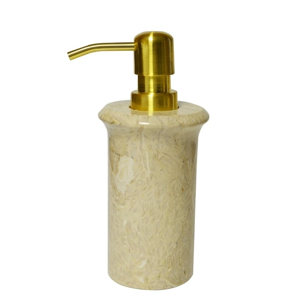 Polished Marble Soap Lotion Dispenser Golden Wheat Shower And Bathroom Accessory