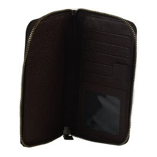 Genuine Leather Checkbook Holder with Card Holder, Photo Slot and Zipper Closure, Brown|https://ak1.ostkcdn.com/images/products/17310456/P23558006.jpg?impolicy=medium