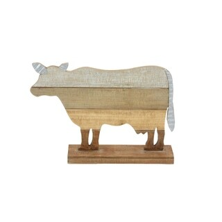 Studio 350 Wood Metal Cow 18 inches wide, 12 inches high