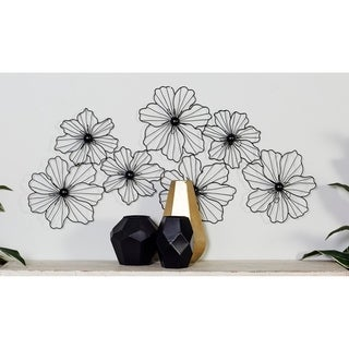"Large Modern Black Flower Sculpture Metal Wall Decor 43"" x 21"""