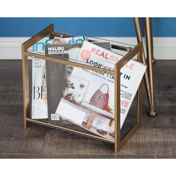 Contemporary 13 Inch Iron and Acrylic Square Organizer by Studio 350