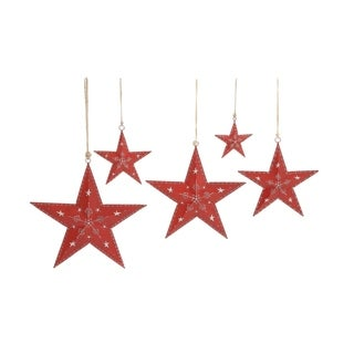 Studio 350 Metal Red Star Set of 5, 18 inches ,15 inches ,12 inches ,9 inches ,6 inches wide