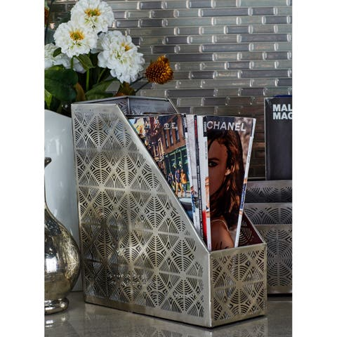 Contemporary 11 x 4 Inch Silver Perforated File Holder by Studio 350