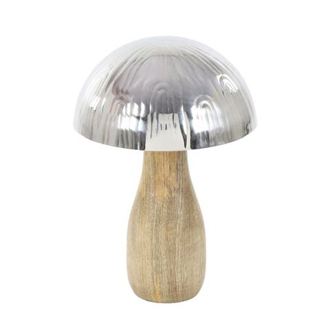 The Curated Nomad Goodman Stainless Steel Wood 8-inch x 11-inch Mushroom