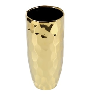 Studio 350 Ceramic Gold Vase 5 inches wide, 12 inches high