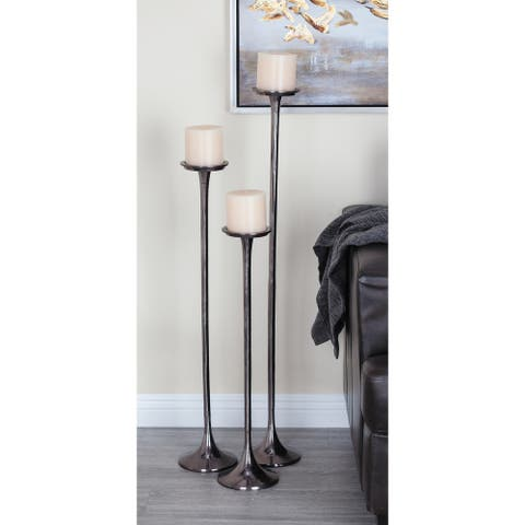 Studio 350 Aluminum Candle Holder Set of 3, 27 inches, 32 inches, 40 inches high