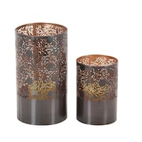 The Curated Nomad Lotta Bronze Lattice Metal Candle Holders (Set of 2)