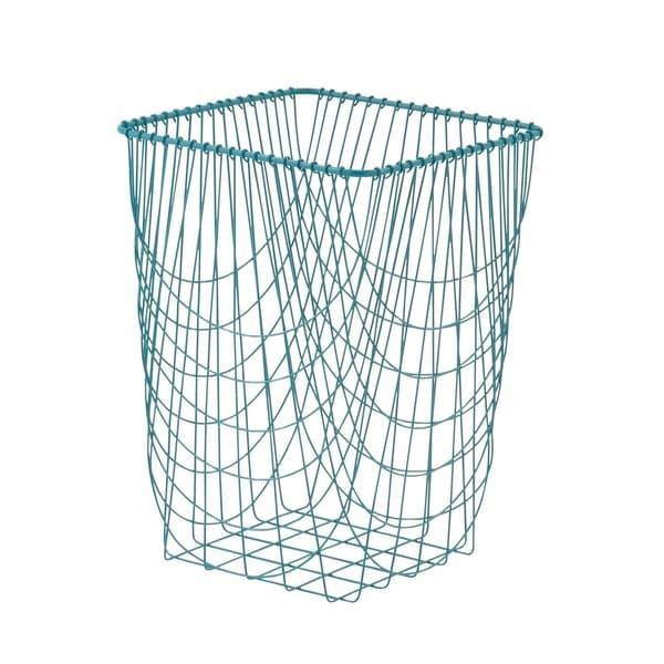 Modern 23 Inch Tall Turquoise Iron Wire Storage Basket by Studio 350