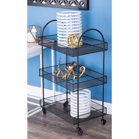 Contemporary 32 x 20 Inch Black Rectangular Basket Cart by Studio 350