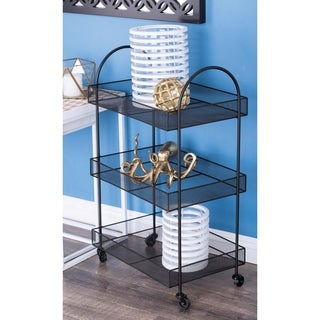 Studio 350 Metal Black Basket Cart 20 inches wide, 32 inches high