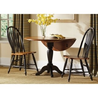 Low Country Black and Bronze 42 Inch Round Drop Leaf Pedestal Table - Black Cherry Finish