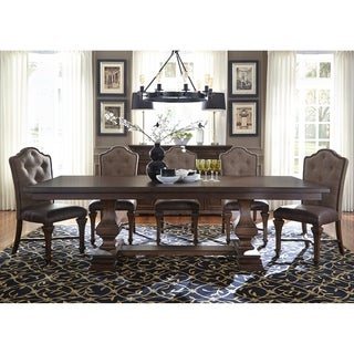Lucca Cordovan Brown Double Pedestal Dinette Table