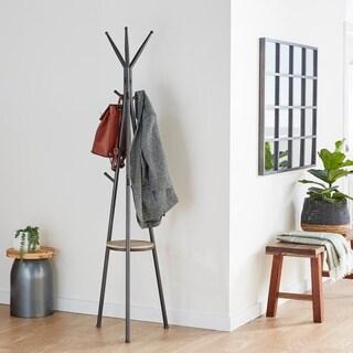 Studio 350 Metal Wood Coat Rack 17 inches wide, 72 inches high