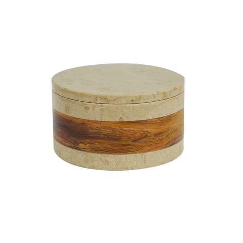 Polished Marble Decorative Keepsake Box Souvenir, Desert Sand & Amber