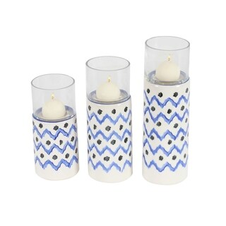 Studio 350 Ceramic Glass Candle Holder Set of 3, 9 inches, 11 inches, 13 inches high
