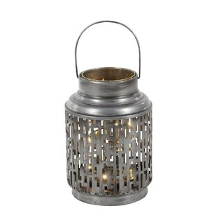 Studio 350 Metal Glass LED Lantern 7 inches wide, 11 inches high