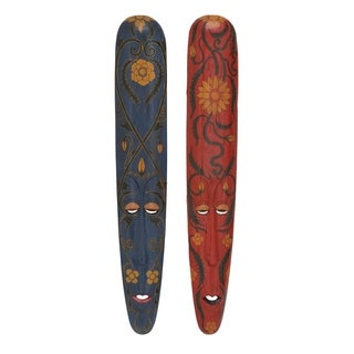 Studio 350 Wood Mask Set of 2, 7 inches wide, 39 inches high