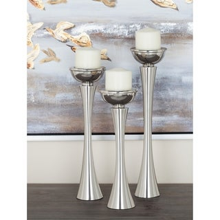 Studio 350 Aluminum Candle Holder Set of 3, 13 inches, 15 inches, 17 inches high