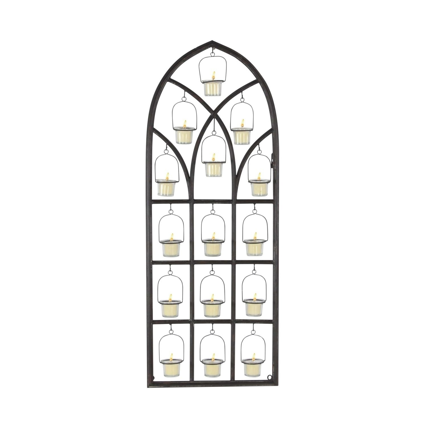 Studio 350 Metal Glass Wall Votive Holder 16 inches wide,...