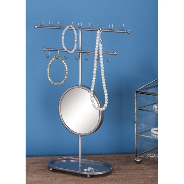 Contemporary 16-Hook Gray Jewelry Holder with Mirror by Studio 350