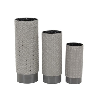 Studio 350 Metal Vase Set of 3, 10 inches, 13 inches, 17 inches high