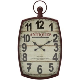 Studio 350 Metal Wood Wall Clock 19 inches wide, 33 inches high