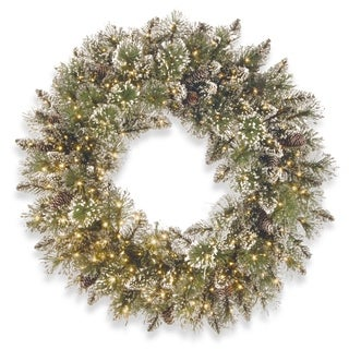 "24"" Glittery Bristle Pine Wreath with Infinity(TM) Lights"