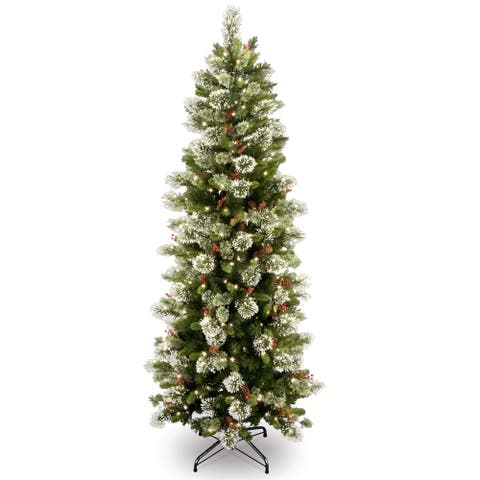 6.5 ft. Wintry Pine Slim Tree with Clear Lights