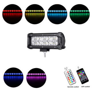 7 INCH 36W RGB STRAIGHT COMBO BEAM LED LIGHT BAR (RGB CROSS-STYLE DRL)