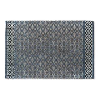 Kavka Designs Blue Isabella Dark Blue Flat Weave Bath mat (2' x 3')