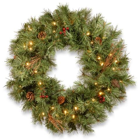 """30"""" Glistening Pine Wreath with Battery Operated LED Lights"""