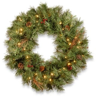 "30"" Glistening Pine Wreath with Battery Operated LED Lights"