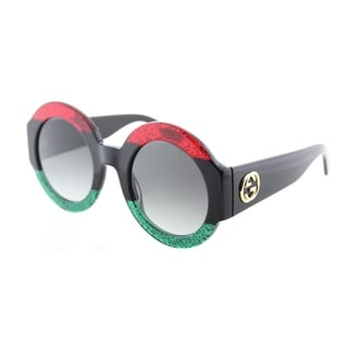 Gucci Women's GG 0084S 001 Red/Black/Green Frame Grey Gradient Lenses Round Sunglasses