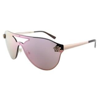 Versace Aviator VE 2161 10524Z Women Copper Frame Light Pink Gold Mirror Lens Sunglasses