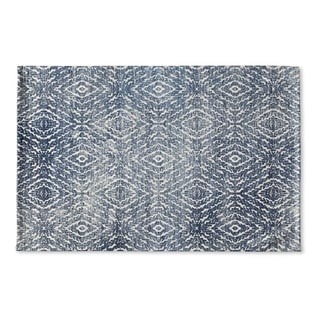 Kavka Designs Blue Zander Dark Blue Distressed Flat Weave Bath mat (2' x 3')