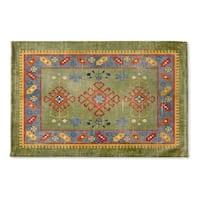 Kavka Designs Green/Yellow/Blue Baize Green Flat Weave Bath mat (2' x 3')