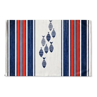 Kavka Designs Blue/Red/White Blue Fish Flat Weave Bath mat (2' x 3')
