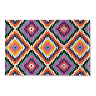 Kavka Designs Teal/Orange/Grey/Tan Dakha Teal Flat Weave Bath mat (2' x 3')