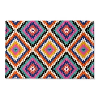Kavka Designs Teal/Orange/Grey/Tan Dakha Teal Flat Weave Bath mat (2' x 3')
