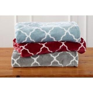 Tara Collection Ultra Velvet Plush Oversize Throw Blanket with Lattice Print