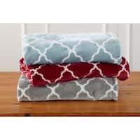 Ultra Velvet Plush Oversize Throw Blanket with Lattice Print